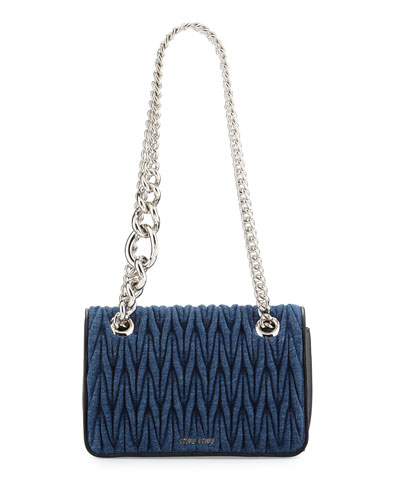 Club Collection Quilted Denim Shoulder Bag, Blue