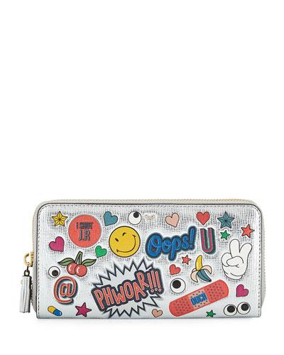 All Over Wink Sticker Large Zip-Around Wallet, Silver/Multi