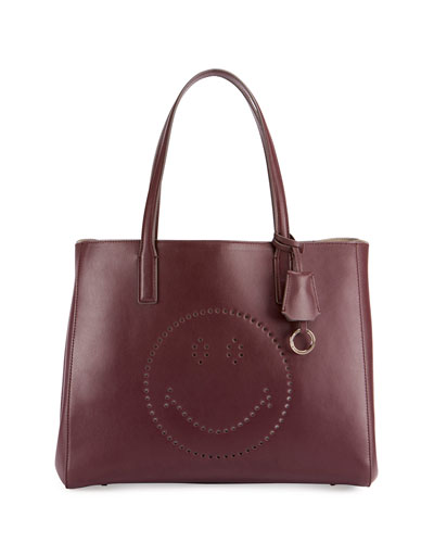 Ebury Shopper Smiley Tote Bag, Wine