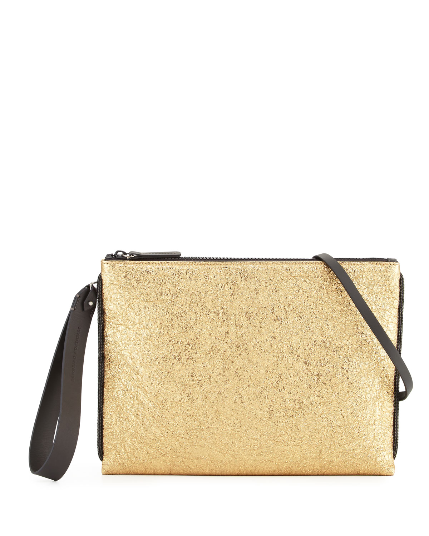 Metallic Wristlet Clutch Bag, Gold