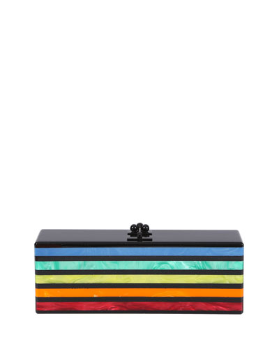 Flavia Striped Acrylic Clutch Bag, Rainbow/Multi