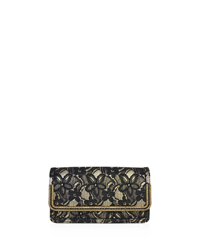 Lenox Lace Crystal-Trim Clutch Bag, Black/Gold