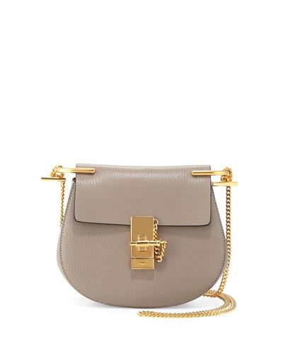 Drew Mini Lambskin Shoulder Bag, Gray