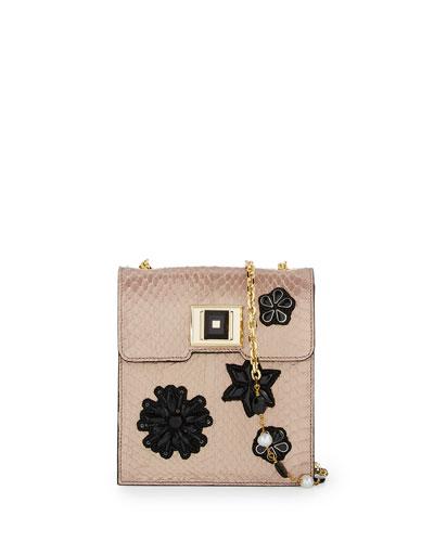 Patch-Embellished Snakeskin Shoulder Bag, Champagne
