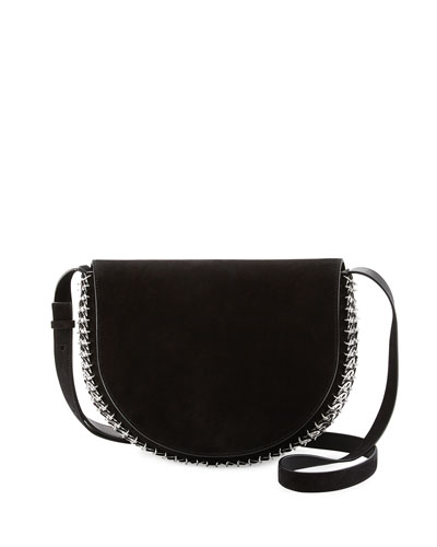 Suede Half-Moon Crossbody Bag, Black
