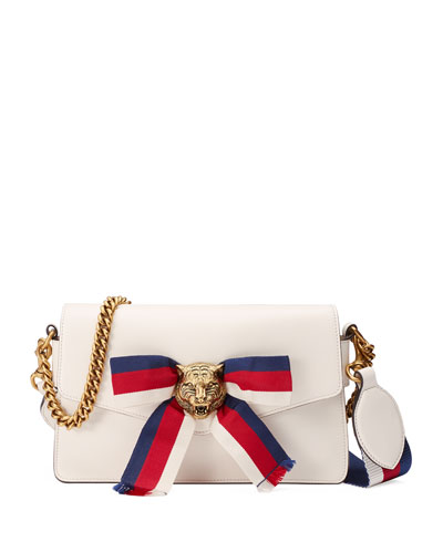 Leather Bow Flap-Top Bag, White