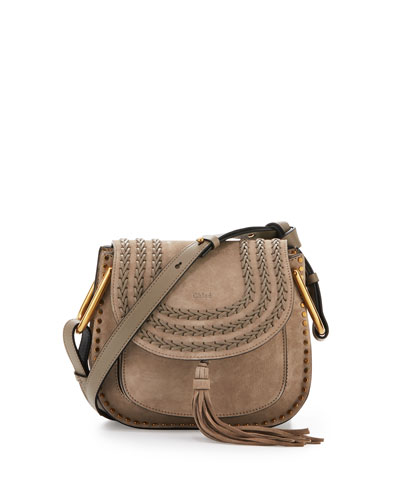 Hudson Small Suede Shoulder Bag, Light Gray