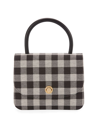 Metropolitan Gingham Top-Handle Bag, Black