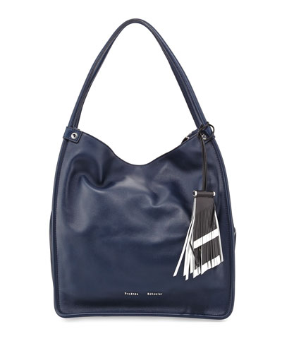 Medium Tassel Tote Bag, Indigo