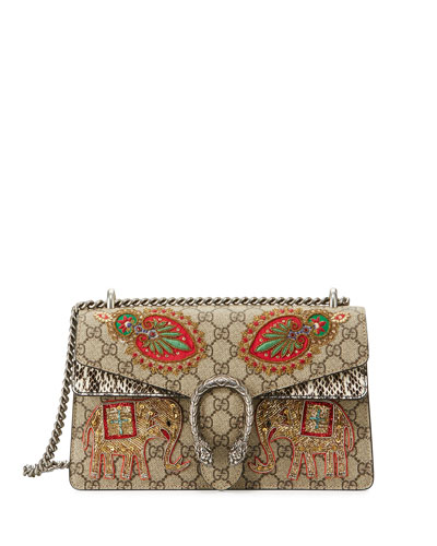 Embroidered GG Supreme Shoulder Bag, Brown Pattern