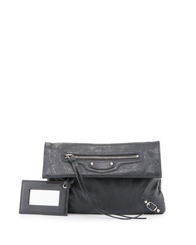 Classic Nickel Mini Envelope Crossbody Bag, Gray Medium