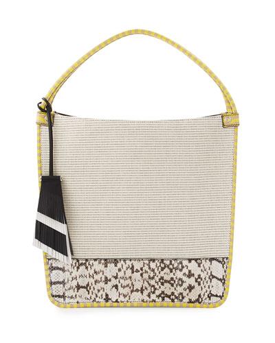 Medium Canvas & Snakeskin Tote Bag, Ecru