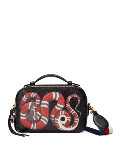 Snake-Print Leather Shoulder Bag, Black Pattern