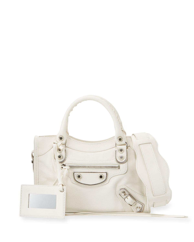Classic Metallic Edge Mini City Bag, White
