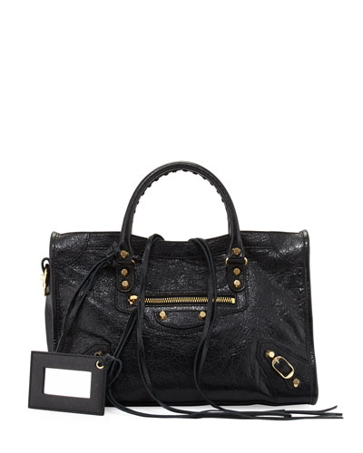 Classic Gold City Small Satchel Bag, Black