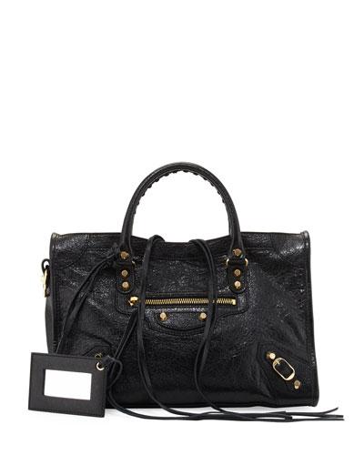 Classic Gold City Small Satchel Bag, Black