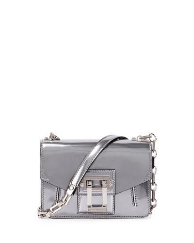 Hava Sparkling Metallic Leather Crossbody Bag, Silver
