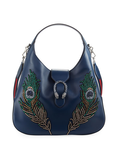 Beaded Leather Handbag, Blue Pattern