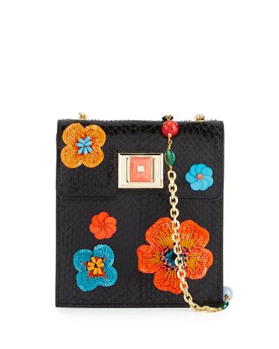 Sequin-Embellished Snakeskin Shoulder Bag, Black/Orange/Multi