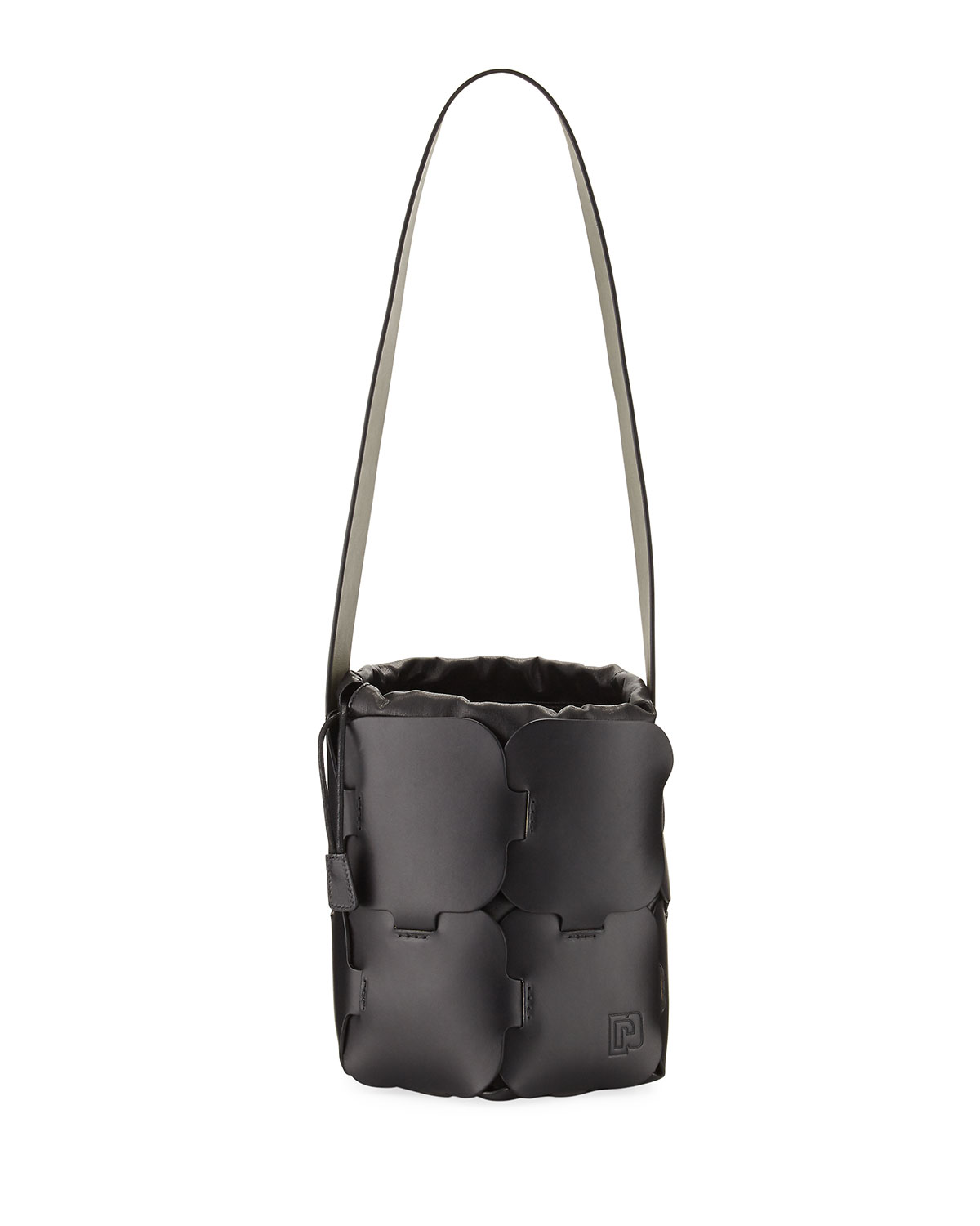 16#01 Mini Brick-Pattern Leather Bucket Bag, Black