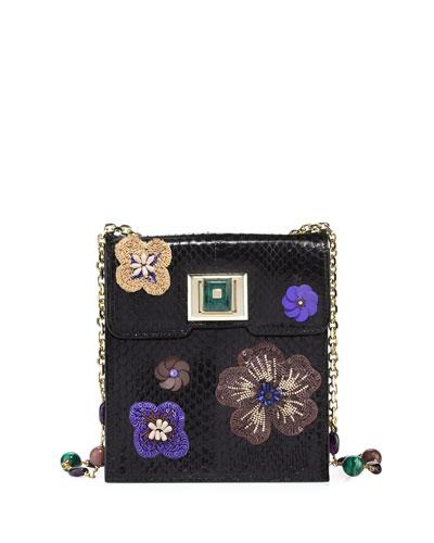 Sequin-Embellished Snakeskin Shoulder Bag, Black/Multi