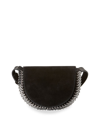 Suede Half-Moon Mini Crossbody Bag, Black