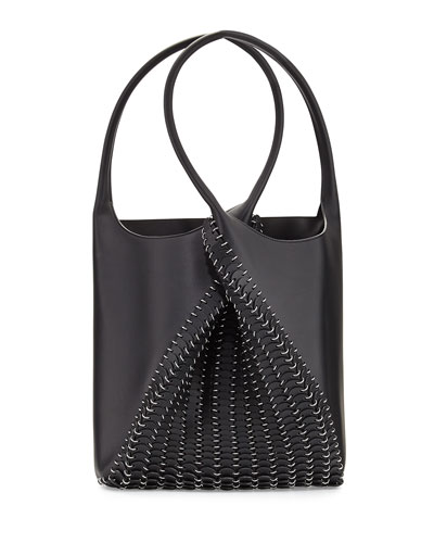 Pliage Medium Leather Tote Bag, Black