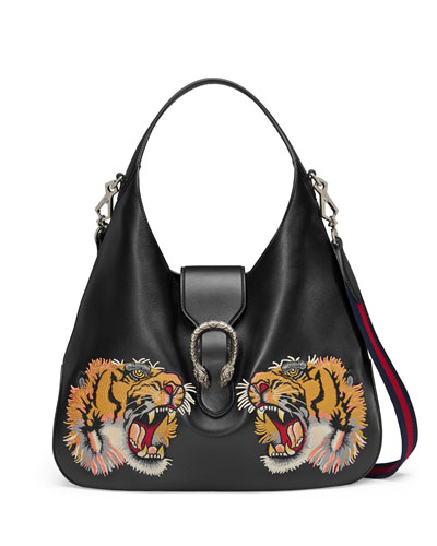 Tiger-Embroidered Leather Shoulder Bag, Black Pattern