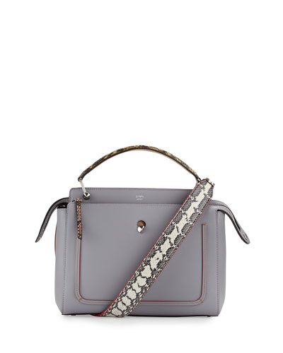 Dotcom Medium Snakeskin-Trim Satchel Bag, Light Blue