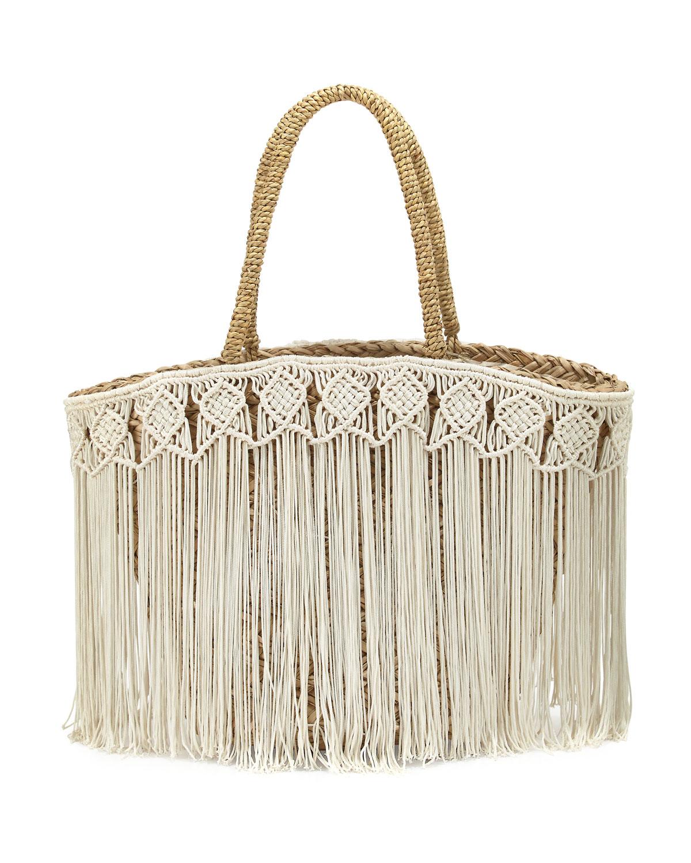 Fes Macrame Fringe Beach Tote Bag, Ivory