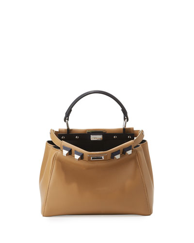 Peekaboo Small Studded Leather Satchel Bag, Olive/Ocean