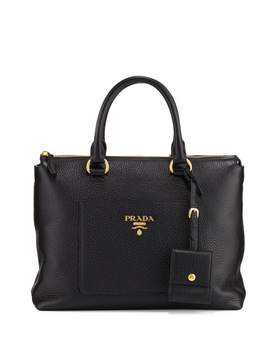 Daino Zip Pebbled Leather Tote Bag