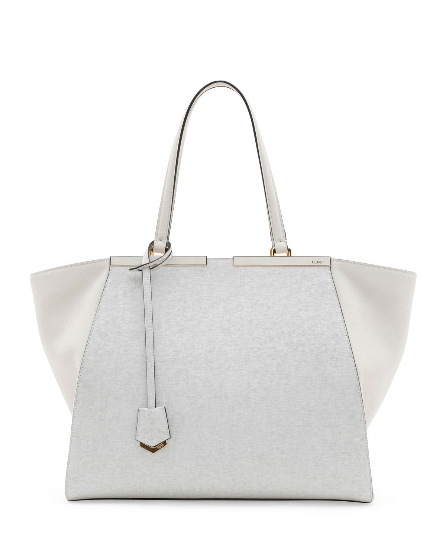 Trois-Jour Grande Leather Tote Bag, White