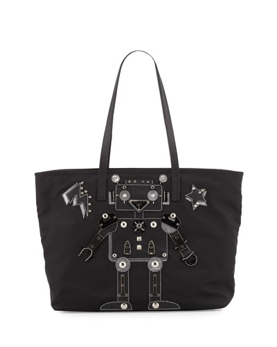 Medium Nylon Robot Tote Bag, Black