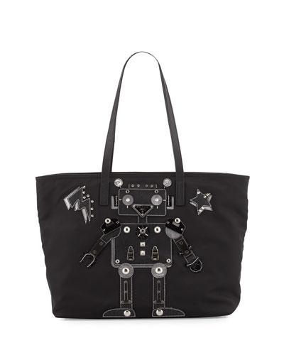 Medium Nylon Robot Tote Bag, Black