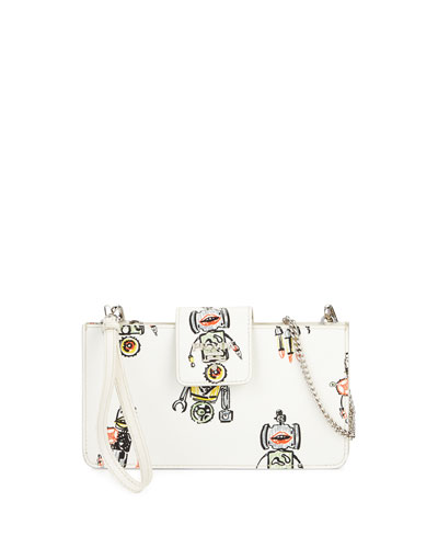 Saffiano Robot Clutch Bag w/Chain Strap
