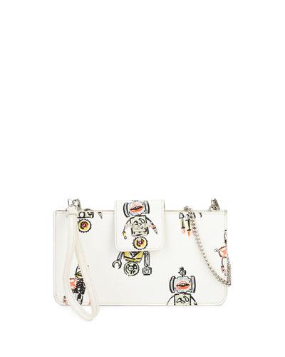 Saffiano Robot Clutch Bag w/Chain Strap