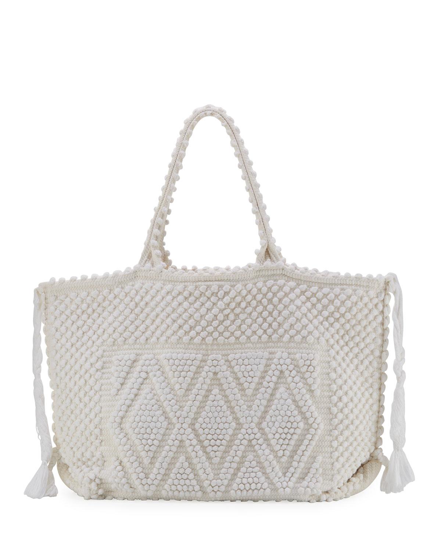 Cappricioli Large Woven Tote Bag, White