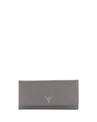 PRADA SAFFIANO LEATHER CONTINENTAL WALLET WITH REMOVABLE ID HOLDER, BLACK (NERO), FUOCO