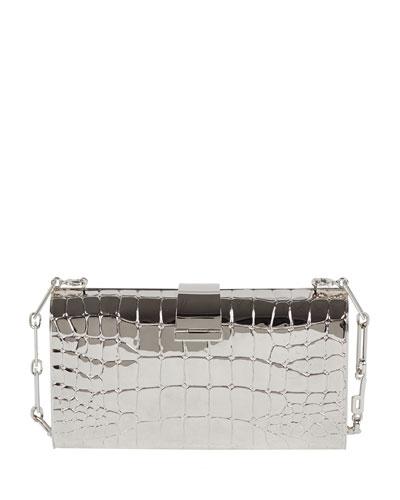 Rebekah Metal Crocodile-Pattern Clutch Bag, Silvertone