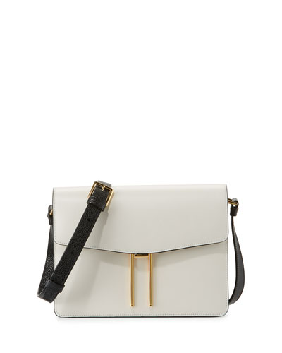 Structured Leather Shoulder Bag, White