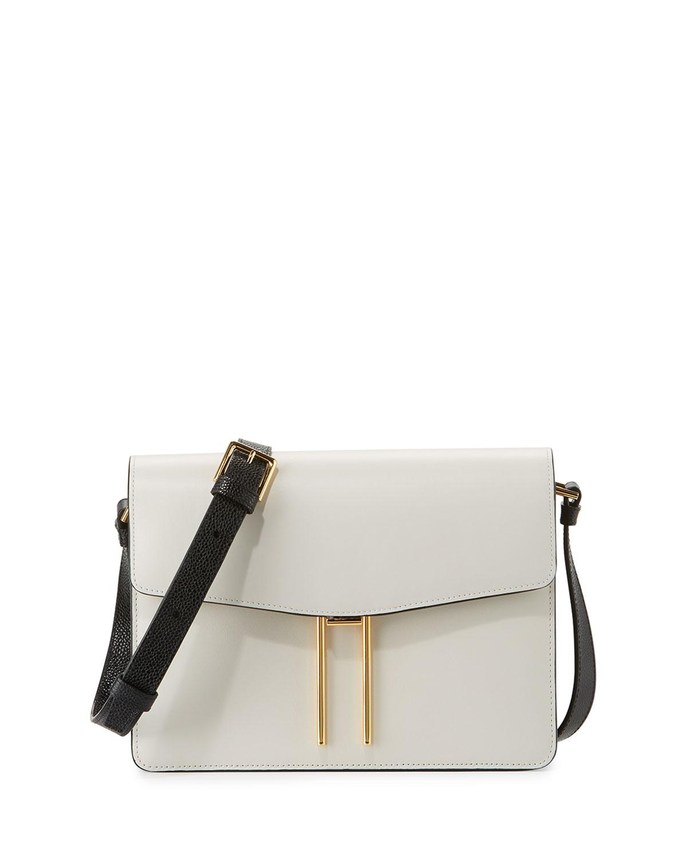 Structured Leather Shoulder Bag, White