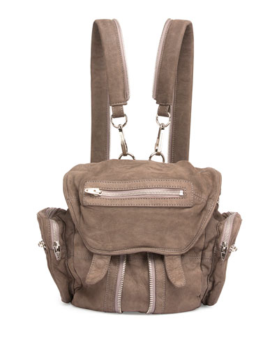 Mini Marti Washed Leather Backpack, Gray