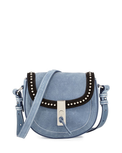 Ghianda Studded Suede Saddle Mini Bag, Denim