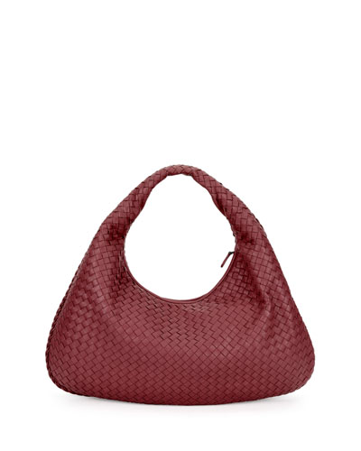 Veneta Intrecciato Large Hobo Bag, Wine