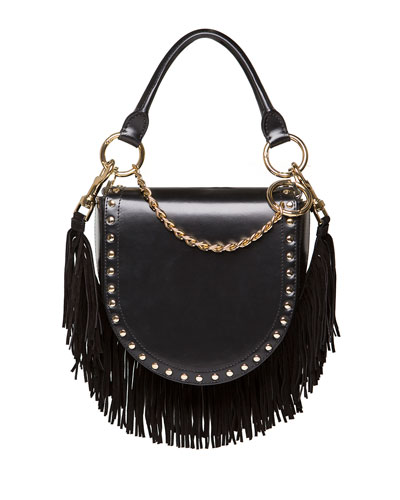 Leather Coin Bag w/Fringe Chain Strap, Black