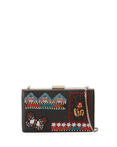 Ricamo Beaded Leather Clutch Bag, Black