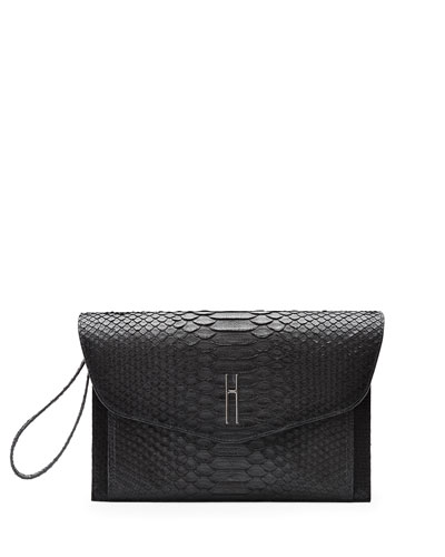 Bobby Matte Python Clutch Bag, Black