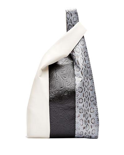 Mixed Leather & Snakeskin Shopper Tote Bag, Multi