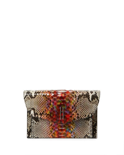 Bobby Rainbow Python Clutch Bag, Multi